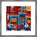 Montreal Wilensky Deli By Carole Spandau Montreal Streetscene And Hockey Artist Framed Print