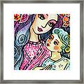 Mother And Child In Blue Framed Print
