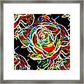 Neon Rose Framed Print