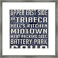 New York City Vintage Subway Stops With Map Framed Print