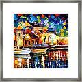 Night Riverfront - Palette Knife Oil Painting On Canvas By Leonid Afremov Framed Print