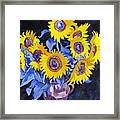 Nine Sunflowers With Black Background Framed Print