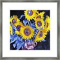 Nine Sunflowers With Black Background Framed Print