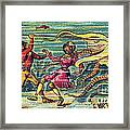 Octopus Attack, 1900s French Postcard Framed Print
