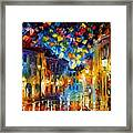Old Part Of Town - Palette Knife Oil Painting On Canvas By Leonid Afremov Framed Print