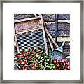 Old Wash Tub With Plants Framed Print