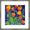 Orange Poppies And Forget Me Nots Framed Print