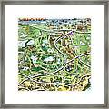 Orlando Florida Cartoon Map Framed Print