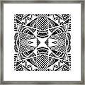 Ornamental Intersection - Abstract Black And White Graphic Drawing Framed Print