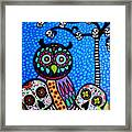 Owl And Sugar Day Of The Dead Framed Print by Pristine Cartera Turkus