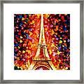 Paris - Eiffel Tower Lighted Framed Print