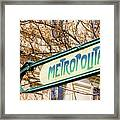 Paris Metro Sign Color Framed Print