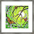 Peace Tree With Monarch Butterflies Framed Print