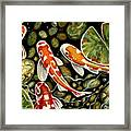 Pebbles And Koi Framed Print by Elizabeth Robinette Tyndall