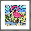 Pink Flamingo Glassy Framed Print