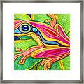 Pink Frog On Leafs Framed Print