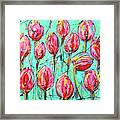 Pink Tulip, Turquoise Framed Print