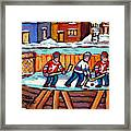 Outdoor Hockey Rink Painting  Devils Vs Rangers Sticks And Jerseys Row House In Winter C Spandau Framed Print