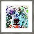 Polar Bear Colored Grunge Framed Print