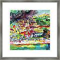 Amalfi Coast Positano Summer Fun Watercolor Painting Framed Print
