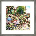 Quails And Blackberries Framed Print