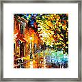 Quiet Corner-garden On The Stones - Palette Knife Oil Painting On Canvas By Leonid Afremov Framed Print