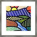 Quilted Mountain Sunrise Framed Print