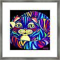 Rainbow Striped Cat 2 Framed Print