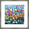 Rainbow Tulips Framed Print