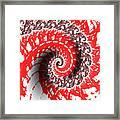 Red And White Fractal Framed Print