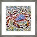 Red Crab Stained Glass Framed Print