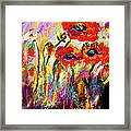 Red Poppies And Bees Provence Dreams Framed Print