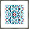 Red White And Blue Fireworks Pattern- Art By Linda Woods Framed Print