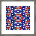 Red White And Blue Star Flowers 1- Pattern Art By Linda Woods Framed Print