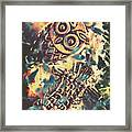 Retro Pop Art Owls Under Floating Feathers Framed Print