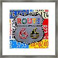 Route 66 Highway Road Sign License Plate Art Framed Print