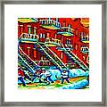 Rowhouses And Hockey Framed Print