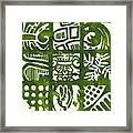 Rubbing Patterns Linocut Framed Print
