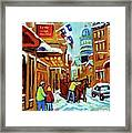 Rue St Paul Montreal Streetscene Cafes And Caleche Framed Print