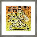 Rugby Player Running With Ball Attack By Shark Framed Print