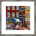 Saint Viateur Bagel With Hockey Framed Print