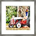 Scarecrow And Pumpkins 2 Framed Print