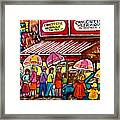 Schwartz's Deli Rainy Day Line-up Umbrella Paintings Montreal Memories April Showers Carole Spandau  Framed Print
