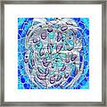 Silver On Blue Stained Glass Framed Print
