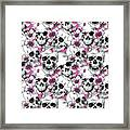 Skulls And Red Flowers Framed Print