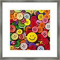 Smiley Face Button Framed Print