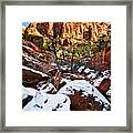 Snow In The Canyons Framed Print