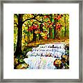 Spring Stream - Palette Knife Oil Painting On Canvas By Leonid Afremov Framed Print