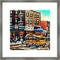 St. Viateur Bagel With Hockey Bus  Framed Print