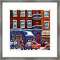 St Viateur Bagel With Hockey Montreal Winter Street Scene Framed Print by Carole Spandau